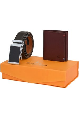 Pacific Men Coffee Brown & Maroon Belt & Wallet Accessory Gift Set
