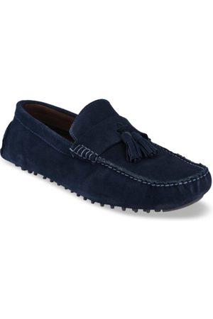 San Frissco Men Blue Lightweight Leather Driving Shoes