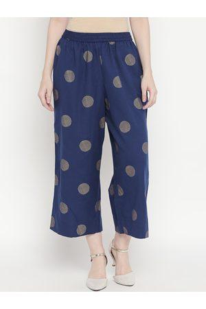 Pantaloons Women Trousers - Women Blue Regular Fit Printed Parallel Trousers
