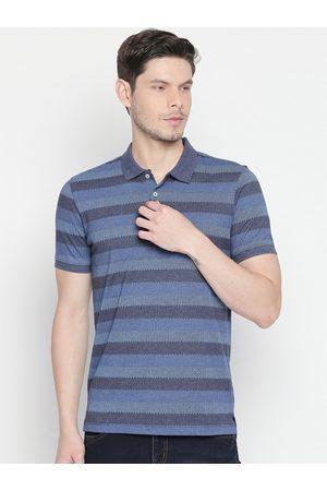 Pantaloons Men Short Sleeve - Men Blue Striped Polo Collar T-shirt