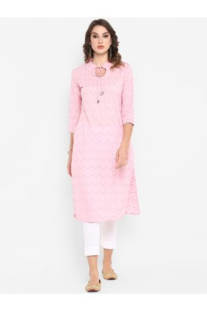 Janasya Women Pink & White Printed Straight Kurta