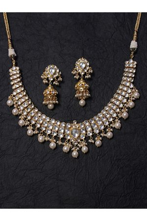 AccessHer Gold-Plated Pachi Kundan and Pearl -Studded Handcrafted Jadua Jewellery Set