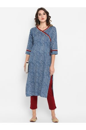 Janasya Women Blue & Maroon Striped Kurta with Trousers