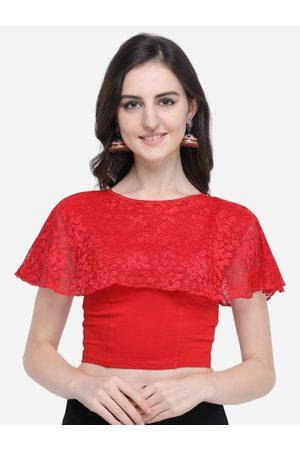 Janasya Women Red Solid Lace Cape Saree Blouse