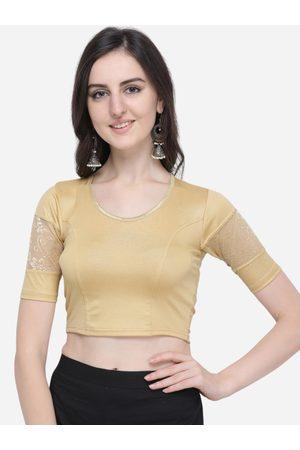 Janasya Women Gold-Toned Solid Saree Blouse