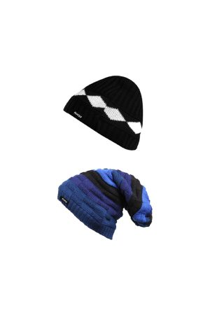 Knotyy Men Pack of 2 Black & Blue Solid Beanies