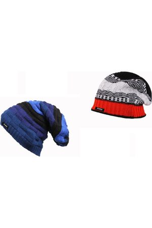 Knotyy Men Pack of 2 Blue & Grey Solid Beanies