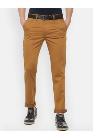 V Dot Men Brown Slim Fit Printed Regular Trousers