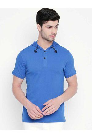 Kenneth Cole Men Blue Solid Slim Fit Hooded T-shirt