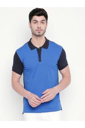 Kenneth Cole Men Blue Colourblocked Polo Collar Slim Fit T-shirt