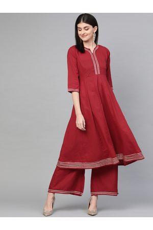 Bhama Couture Women Maroon Gotta Patti Detail Kurta with Palazzos