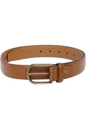 Mast & Harbour Men Tan-Brown Textured Leather Belt