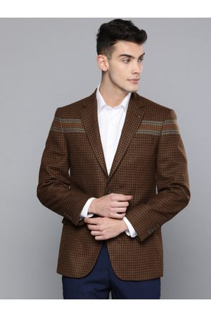 Louis Philippe Men Brown & Khaki Checked Tailored Fit Single Breasted Casual Woolen Blazer