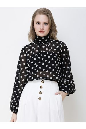 Cation Women Black & White Printed Top