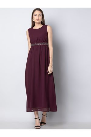 FabAlley Women Maroon Embellished Fit and Flare Dress