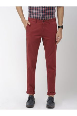 Indian Terrain Men Rust Red Brooklyn Slim Fit Solid Chinos