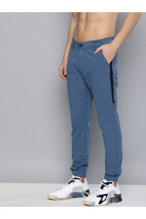 HERE&NOW Men Blue Regular Fit Solid Chino Joggers
