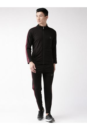 CHKOKKO Men Black Solid Gym Track Suit