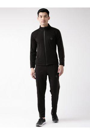 CHKOKKO Men Black Solid Training Track Suit