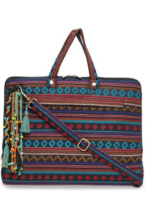 The House of Tara Women Multicoloured Textured Laptop Bag