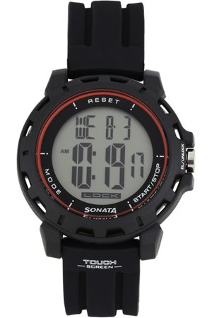 Sonata Ocean Series Men Black Digital Watch 77037PP07