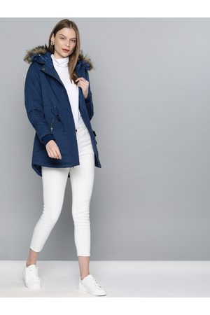 Chemistry Edition Women Navy Blue Solid Parka Jacket