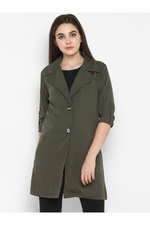 Color Cocktail Women Trench Coats - Women Olive-Green Solid Trench Coat