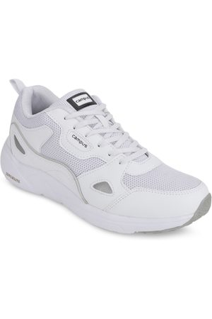 Campus Men White Mesh Mid-Top Running Shoes