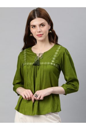 Yash Gallery Women Olive Green Solid Top
