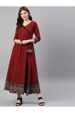 YASH GALLERY Women Maroon Solid Maxi Dress