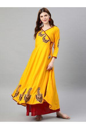 Yash Gallery Women Yellow Solid Angrakha Anarkali Kurta With Patchwork Detailing