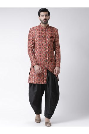 Hangup Men Rust Orange Printed Sherwani