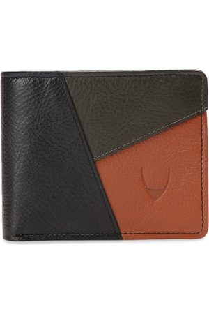 Hidesign Men Black & Olive Brown Colourblocked Leather Two Fold Wallet