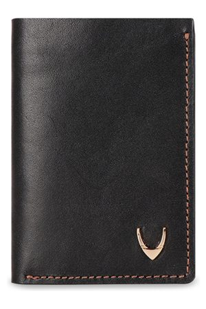 Hidesign Men Black Solid Leather Three Fold Wallet