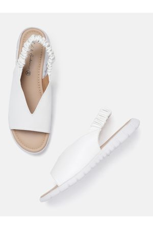 Mast & Harbour Women White Solid Open Toe Flats
