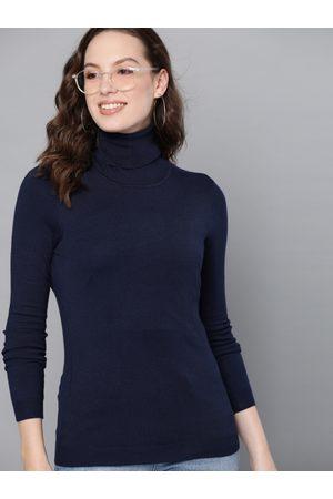 Mast & Harbour Women Navy Blue Solid Sweater