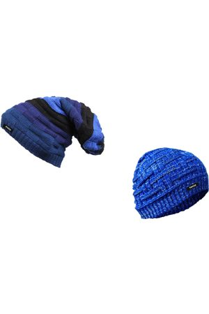 Knotyy Men Pack of 2 Blue Solid Beanies