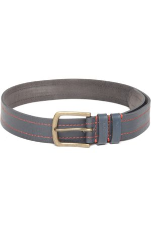 Benetton Men Navy Leather Solid Belt
