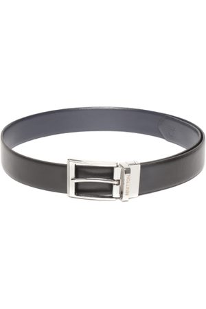 Benetton Men Black & Navy Blue Leather Reversible Solid Belt