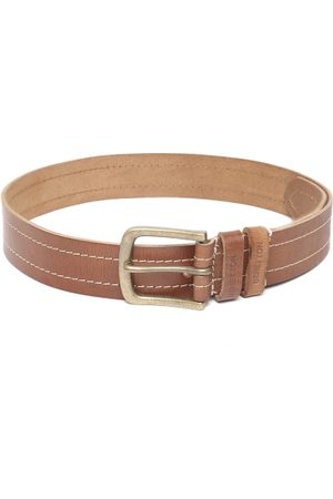 Benetton Men Brown Leather Solid Belt