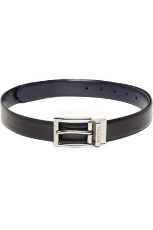 Benetton Men Black & Navy Leather Reversible Solid Belt