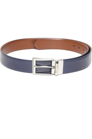 Benetton Men Brown & Navy Blue Leather Reversible Belt