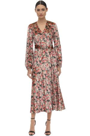 ROTATE Printed Velvet Wrap Dress