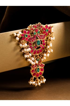 Priyaasi Magenta & Green Gold-Plated Stone-Studded Hair Bun Pin