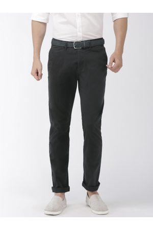 Celio Men Black Slim Fit Solid Regular Trousers