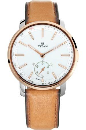 Titan Men White & Tan Brown Leather Analogue Watch