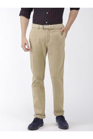 Celio Men Beige Slim Fit Solid Regular Trousers
