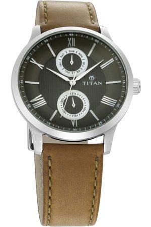 Titan Men Green Leather Analogue Watch 90100SL03