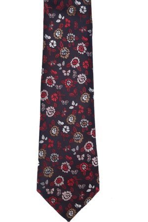 Calvadoss Men Burgundy & Red Woven Design Broad Tie