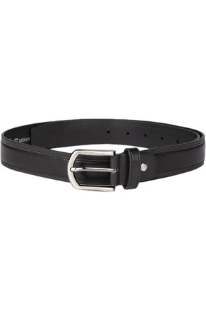 Mast & Harbour Men Black Textured Leather Belt